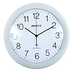Maple's 12-Inch Wall Clock, Atomic Time Sync, White Face and Silver Bezel