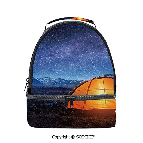 SCOCICI Large Capacity Durable Material Lunch Box Camping Tent Under a Night Sky Full of Stars Holiday Adventure Exploring Outdoors Multipurpose Adjustable Lunch Bag