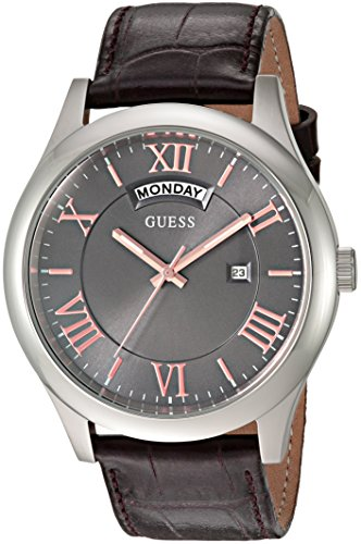 GUESS Men's U0792G7 Dressy Silver-Tone Stainless Steel Watch with Day & Date Dial and Strap Buckle