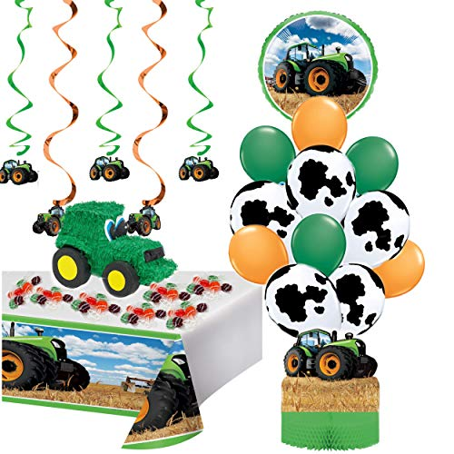 Filled Tractor Pinata with Farmhouse and Tractor Party