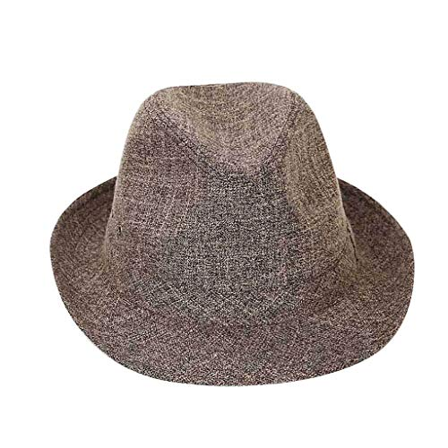 FEDULK Unisex Trilby Gangster Cap Crushable Wide Brim Felt Floppy Solid Fedora Jazz Cap Outdoor Panama Hat(Coffee, 59)