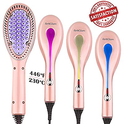 Hair Straightener, Str8glam 4-in-1 Hair Straightening Brush for Damp/Dry Hair of All Types, Sleek & Long Lasting Style in Just One Brush with 100% Satisfaction Guarantee