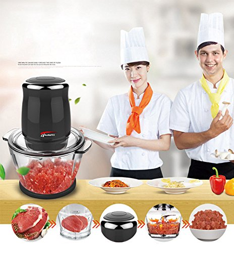 JianYaNa Premium Quality Electric Meat Grinders 220V 500W Stainless Steel Spice Grinders Used as Choppers, Mincers, Blender for Meat, Vegetables, Fruit and Spice with Black & Red Wine Choice (Black) by JIAN YA NA