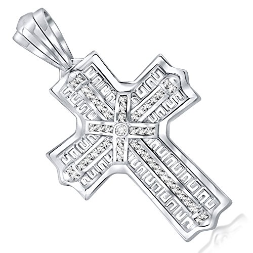 Men's Sterling Silver .925 Greek Key Design Iced Out Large Cross Pendant with 45 Cubic Zirconia Stones. Large Bail for Wide Chains, Hand Polished, Platinum Plated.