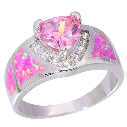 Topaz Zircon Ring (CiNily Silver Pink Fire Opal Pink Topaz Zircon Women Jewelry Gemstone Ring Size 5-11 (7))
