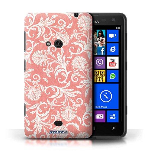 Etui / Coque pour Nokia Lumia 625 / Fond Rouge conception / Collection de Fleurs