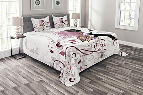 Ambesonne Princess Bedspread Set Queen Size, Flower Fairy with Butterflies Wings Branches Ornaments Floral Spring Forest, Decorative Quilted 3 Piece Coverlet Set with 2 Pillow Shams, Maroon Black