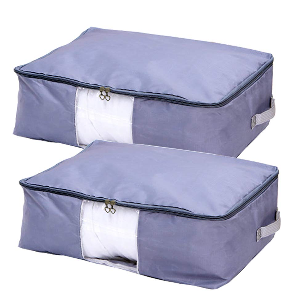 Duvet Blanket Set of 2,Grey, XL Foldable Underbed Storage Bag for Comforters Bedding LH Oxford Fabric Large Capacity Under Bed Storage Bags with Clear Window
