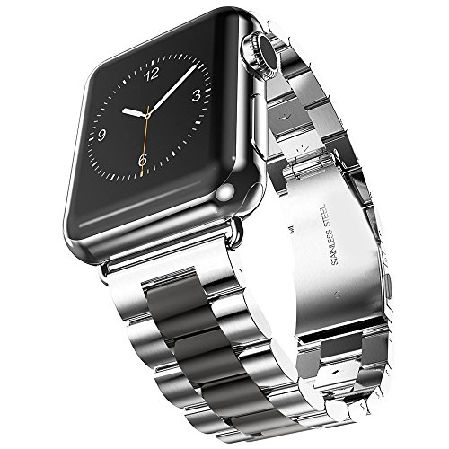 Silver With Black Stainless Steel Band - Hontao Stainless Steel Band for Apple Watch 42mm, Metal Link Replacement Strap for iWatch Series 3/2/1 (Silver Black 42mm - 3 Pointers)