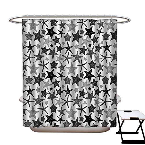 (BlountDecor Dark Grey Shower Curtains with Shower Hooks Monochromatic Starfish Pattern Exotic Aquarium Fauna Underwater Wildlife Fabric Bathroom Set with Hooks W54 x L78 Black Grey White)