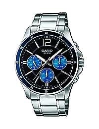 Casio #MTP1374D-2AV Men's Standard Metal Band Multi-Function Black Dial Watch