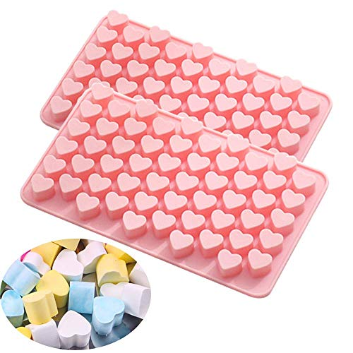 Heart Silicone Soap Mold Embed Soap Making Supplies Tool Mini Heart Ice Cube Mold for Chocolate, Candy, Jello, Gummy, Cake Decoration 2 Packs