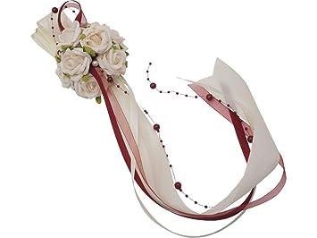 Zauberdeko Tischaufleger Gesteck Creme Bordeaux Rot Tischdeko Rosen