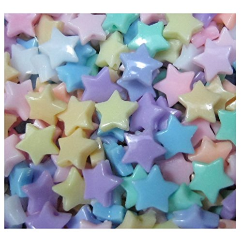 Lot of 300pcs Acrylic Star Beads 8 mm Assorted Candy Color Mix Plastic Pastel Beads Bracelet Kawaii Rainbow Necklace Jewelry Making Craft Kits Kids diy