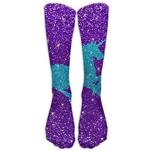 SDEYR79 Glitter Unicorn Youth Soccer Socks Teens Knee High Football Socks Long Striped Rugby Tube Socks. ()