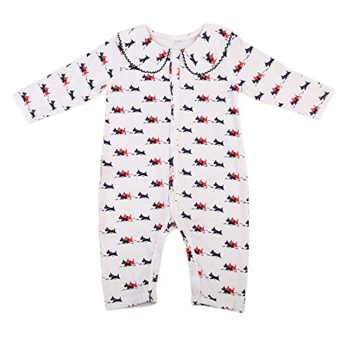 ITFABS Baby Boy Girl Romper Jumpsuit Little Dogs Printed Long Sleeve Romper Clothes (90(12-18 Months), Off-White)