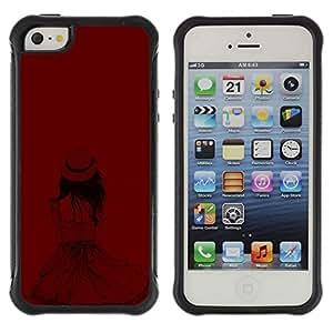 Be-Star único patrón Impacto Shock - Absorción y Anti-Arañazos Funda Carcasa Case Bumper Para Apple iPhone 5C ( Girl Hat Fashion Deep Maroon Blood )