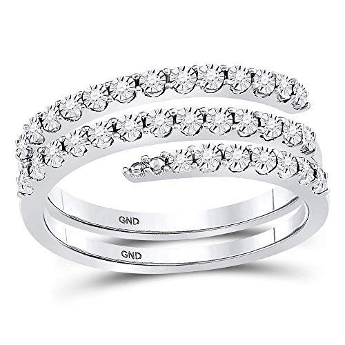 FB Jewels Sterling Silver Womens Round Diamond Triple Strand Wrap Wedding Band Ring 1/10 Cttw Size 7