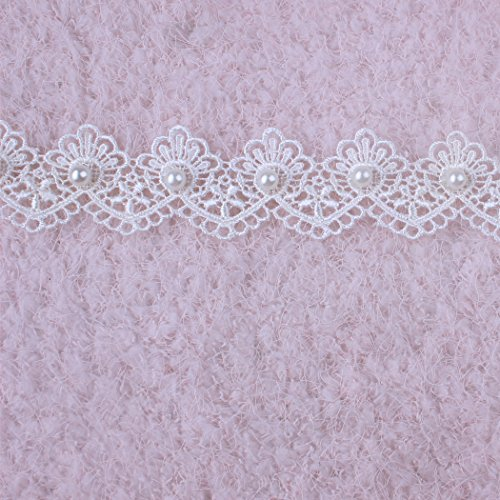 3 Yards Ivory Off Whtie Pearl and Lace Beaded Floral Venise Trim Wedding Bridal Ribbon Vintage Beaded Ribbon