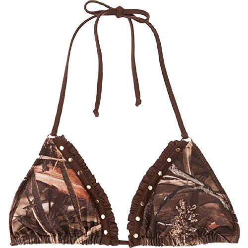 Realtree Womens Ruffle Triangle Bikini Slider Top Medium Camo