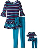 dollie me clothing - Dollie & Me Big Girls' Knit Stripe Drop Waist Dress with Knit Legging, Teal/Purple, 7