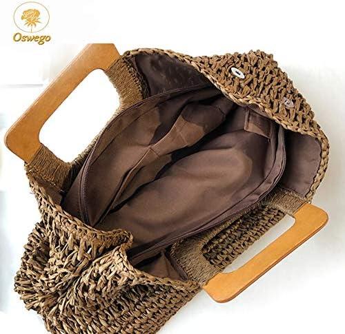YLH Straw Borsa Manico in Legno Borse Totes Cabas Grande capacità Corda Carta Tessuto Bag Paglia Casuale Vacanza Viaggio Beach Bag (Color : Multi) Yellow D