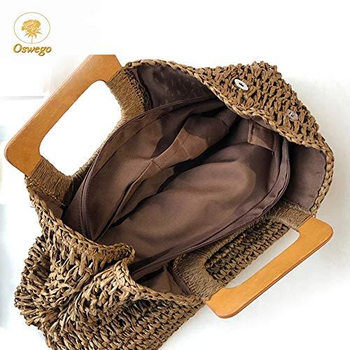 Xlin halmhandväska trähandtag-påse döda Cabas stor kapacitet papper rep spunnet halmpåse-ledig semester-resa-strandväska (färg: Yellow D) Mörkbrunt