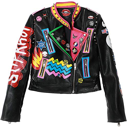 Female Leather Jacket - Motorcycle Jackets Coat - Women Patch Designs Epaulet Rivet Jacket - Graffiti Print Short Locomotive Top