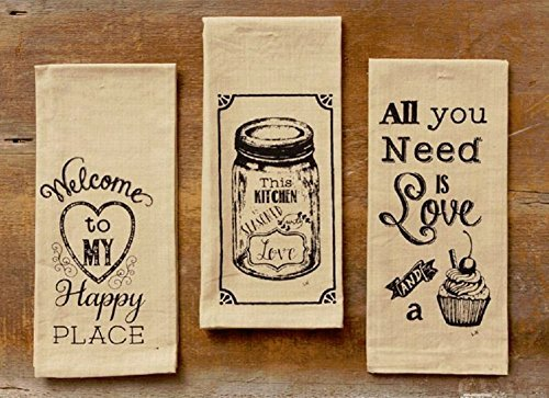 Welcome to My Happy Place, Cupcake, Seasoned with Love Set/3 Kitchen Tea Towels