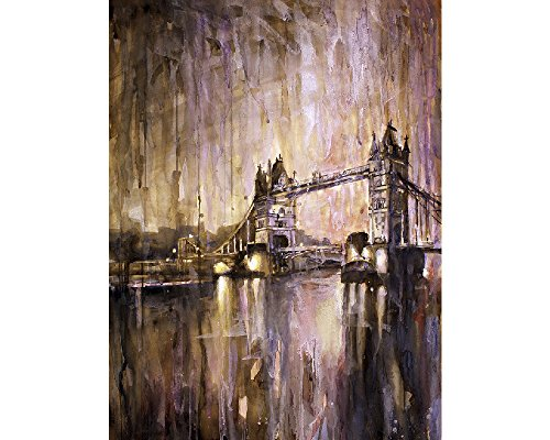 of Tower Bridge at dusk- London, England (print) (Historic Water Tower)