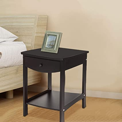 Fabulous Amazon Com Ssline Wooden Night Stand With Drawer And Open Squirreltailoven Fun Painted Chair Ideas Images Squirreltailovenorg