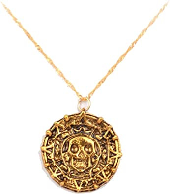 6 Pirates of the Caribbean Aztec Coin Skull Medallion Chain Necklace Pendant