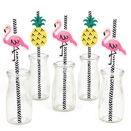 Big Dot of Happiness Pink Flamingo Paper Straw Decor - Party Like a Pineapple - Tropical Summer Striped Decorative Straws - Set of 24