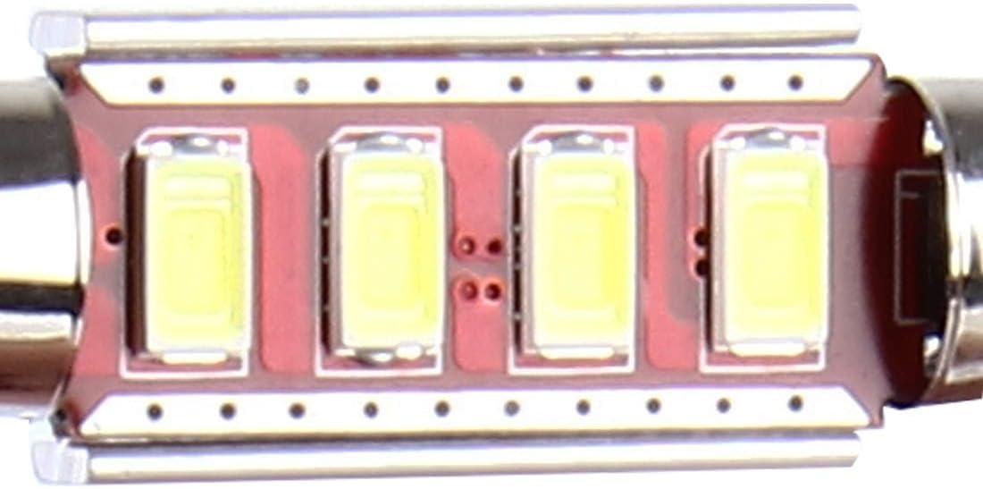 Dfsvgiurfe Auto-Licht-Auto-Birnen-Ersatzlampe Kit 2 PCS 200lm 6000K DC 12V 3W 41MM 4 SMD-LEDs 5730 Bicuspid Port-Dekodierung Auto Dome Lampe LED-Leselicht Farbe : White Light wei/ßes Licht