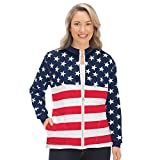 Mallory Lane Women's Ladies Patriotic USA Flag Zip Jacket with Crystal Accents & Front Pockets, X-Large