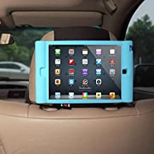 TFY Kids Car Headrest Mount Holder for iPad Mini & iPad Mini 2 - Detachable Lightweight Shockproof Anti-slip Soft Silicone Handle Case, Kids Security Hands-Free Headrest Travel Bracket Stand for Road Trip - Blue