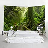 Natural Green Forest Aisle Print Decorative Throw Fabric Tapestry Wall Hanging Art Decor for Bedroom (78x59 Inches)