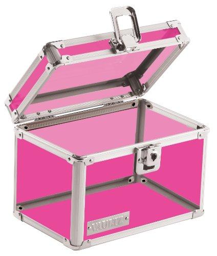 Vaultz Locking 4 x 6 Inch Index Card Box, Pink Acrylic