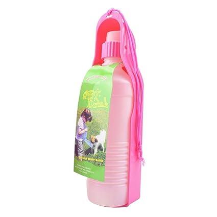 Pawaca Botella de agua para mascotas, 500 ml, para viajes, alimentos de plástico