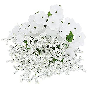 6pc Fake (Artificial) Flowers Set, Floral Garden 5-Stem Baby's Breath Bushes, 12 in 38