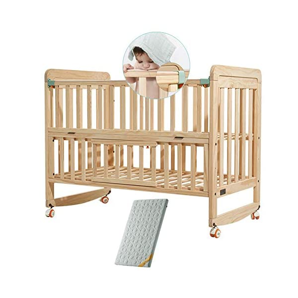 Rabbfay Children Baby Convertible Crib, Multifunctional Newborn Cradle Bed with 3 Position Adjustable Height Mattress for Nursery Kids Furniture
