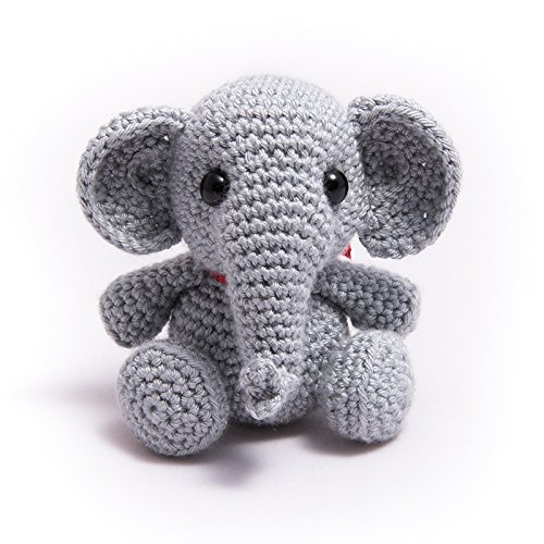 Handmade Knitted Stuffed Designer Author Elephant hollowfibre Eco Friendly Toy