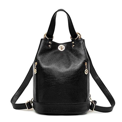 JOYSKY HB440170C3 Spring Genuine Leather Korean Version Women's Handbag,Bucket-Type (Kathy Van Zeeland Back Zip Satchel)