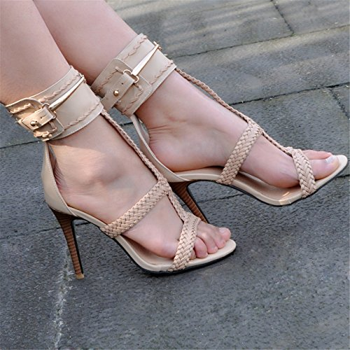 Women's High Heeled Ankle Strap Stiletto Heel T-strap Open-toe Sandals(8.5,apricot) (T-strap Mini Platform)