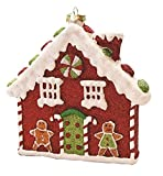 Northlight 7.25'' Merry & Bright Red, White and Green Glitter Shatterproof Gingerbread House Christmas Ornament