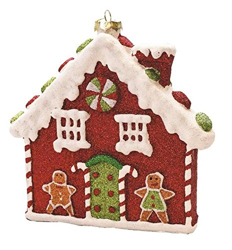 Northlight 7.25'' Merry & Bright Red, White and Green Glitter Shatterproof Gingerbread House Christmas Ornament by Northlight