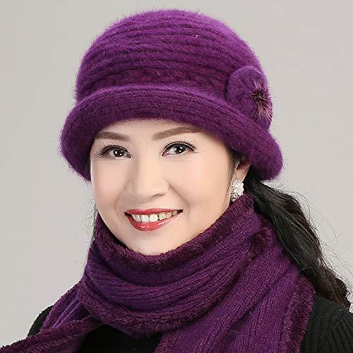 Invierno Gorro Purple Edad Burgundy Moda Sombrero Lana Para Andre Mujer Abuelita De Mediana Antiguo color Fap0qawEx