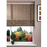 Brooklyn Black Corded Fabric Roman Window Blind with Line Pattern and Papyrus Design - 60 x 160 cm