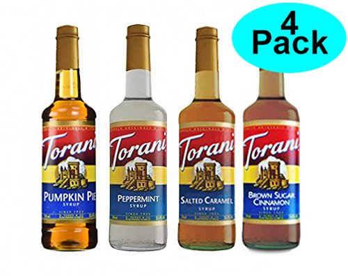(Torani Fall Winter Syrup 4 Pack, Pumpkin Pie, Peppermint, Salted Caramel & Brown Sugar Cimmanon)