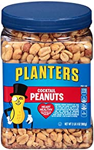 Planters Salted Cocktail Peanuts, 35 ounce Resealable Jar - Heart Healthy Salted Peanuts - A Good Source of Es